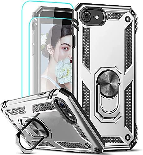LeYi per Cover iPhone SE 2020, Custodia iPhone 6 / 6S / 7/8 con Vetro Temperato [2 Pack], 360°Regolabile Anello Magnetica Supporto Ring Armor Bumper TPU Case Silicone Custodie Argento
