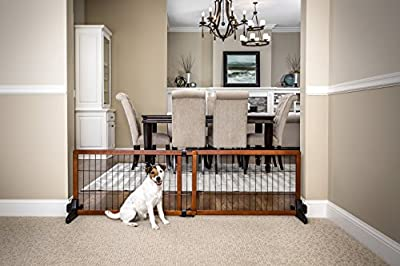 Carlson 60-Inch Wide Adjustable Freestanding Pet Gate, Premium Wood