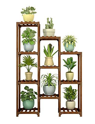 Support de plante, support de fleur en bois massif 10 support d'affichage de support de pots de fleur, unité de rayonnage de support de stockage d'étagère de chaussures pour le salon extérieur d