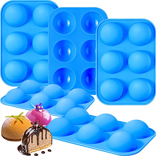 Hemisphere Silicone Mold Hot Chocolate Bomb Mold, 6 Holes Medium Semi Sphere Mold Half Ball Sphere Baking Mold for Making Chocolate, Cake, Jelly, Dome Mousse DIY (Lake Blue,5 Pieces)
