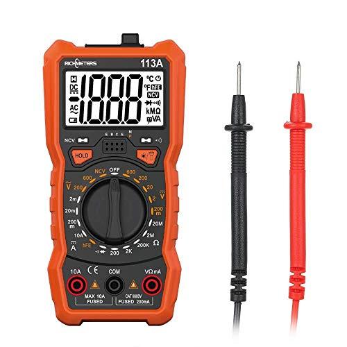MOZUSA Medición de la tensión Meter - Rm113A Ncv multímetro digital 2000 unidades HFE AC DC Tensión/Medidor de medición magnética de succión con la luz del flash de luz de fondo de pantalla grande M
