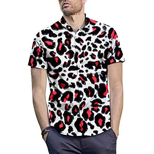 WODENINEK Sexy Heren Luipaard Print Shirt Casual Korte Mouw Lapel Kraag Slanke Mannelijke Knop Down Tropische Top Blouse