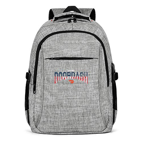 Laptop Backpack Water Resistant Doordash-American-Flag-Distressed- Computer Backpack with USB Charging Port for Men Womens College Backpack Fits 15.6 Inch Laptop Notebook-Grey