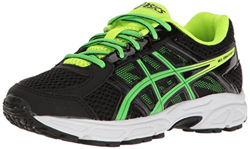 ASICS Boys' Gel-Contend 4 GS Running Shoe, Black/Green Gecko/Safety Yellow, 5 M US Big Kid