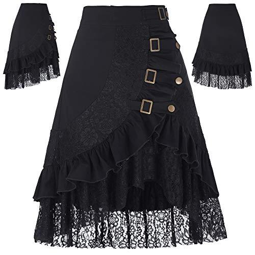 Belle Poque Faldas Gitanas Vintage Negra Encajes Florales Volantes Asimétrica Disfraz XL