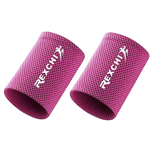 Cooling Wristbands, Fitness Sports Sweat Absorbent Polyester Wristband Breathable Ice Sweatband for Adults Men Women Yoga Tennis Basketball Cycling Running Gym (2 pcs) (Rose Red, M)