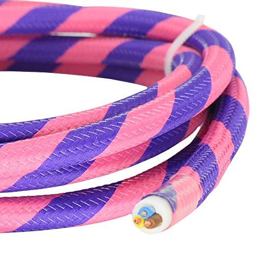 3m Textilkabel Neon Pink Lila Flex 3G 0,75mm² Stoffkabel für Hänge- u. Pendelleuchten Stromkabel mit Stoff Lampenkabel