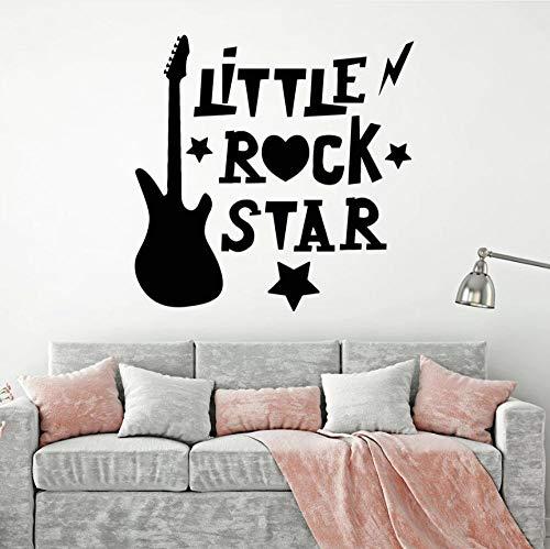 Pegatinas De Pared Calcomanías Mecedora Guitarra Eléctrica Estrella Dibujos Animados Niños Habitación...