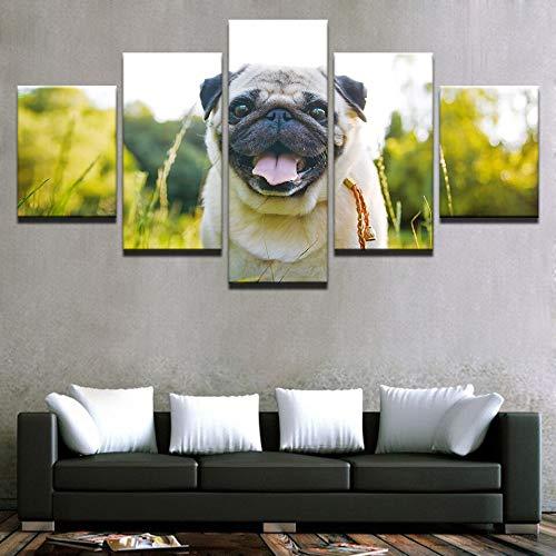 FFFZDCKAY Cuadro en Lienzo 5 Partes Cuadros de Lienzo de Arte Abstracto Impresiones de Animales Perros Sala de Estar póster Pintura de Pared decoración del hogar Cuadros Sin Marco