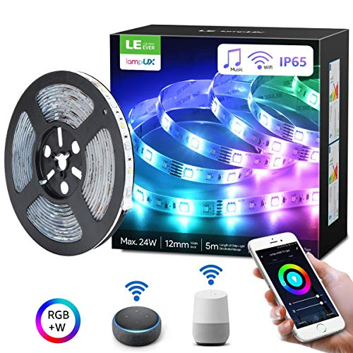 LE Striscia LED RGBW 5M 24W Alexa Intelligente WIFI con Musica, Nastro Luminoso Impermeabile IP65 con 300 LED Bianco e RGB per TV Retroilluminazione, Strisce LED Compatibile con Alexa/Google Home
