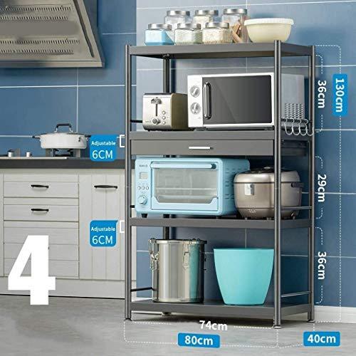 Multifunción Multifuncional horno de microondas Rack de acero inoxidable Microondas rack de almacenamiento estante con cajones de la cocina de almacenamiento de cocina LINGZHIGAN (Size : Style