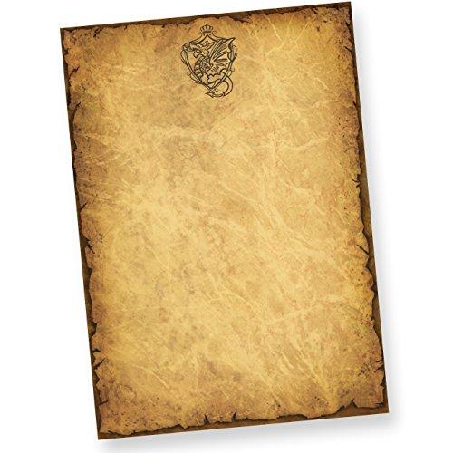 TATMOTIVE 01-0134-0093-00050 Altes-Briefpapier mit Drache Wappen (50 Blatt) DIN A4 beidseitig