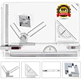 A3 Drafting Table Drawing Board, Drawing Tool Set Graphic Architectural Sketch Board with Parallel Motion, Set Square, Clamps, Protractor, Anti Slip Support Legs, Sliding Ruler