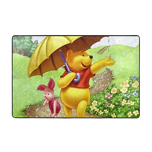 Alfombra antideslizante grande Winnie The Pooh con dibujos animados para sala de estar, felpudos de 60 x 39 pulgadas