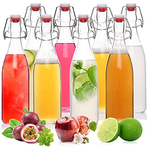 8 Pack-16oz Swing Top Glass Bottles with Airtight Stopper, Clear Flip Top 2nd Fermenting Bottles for Kombucha, Water Kefir, Beer Brewing, Vanilla Extract, Limoncello Soda