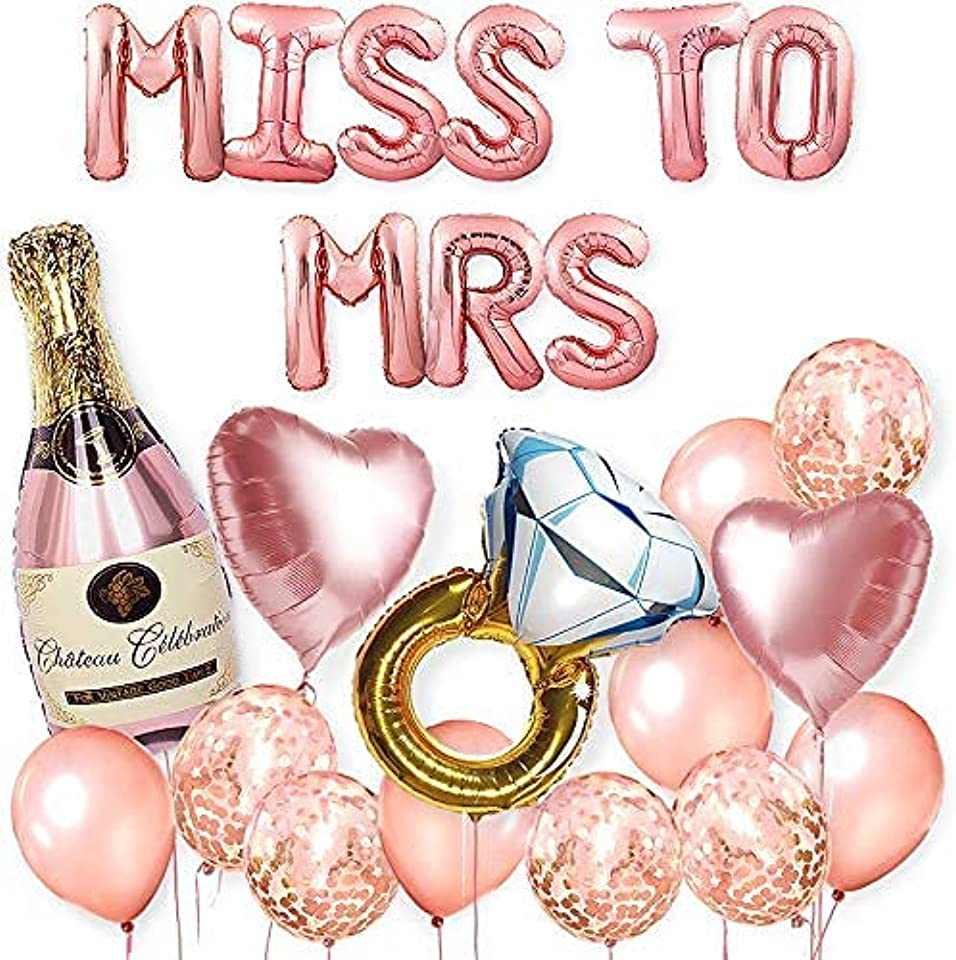 LavaRose Miss to Mrs hen party decorations 23 pcs set, MISS TO MRS balloons, confetti balloons, rose gold ribbon, inflating straw. Bride to be party, Hen do