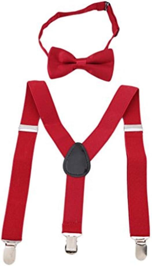beige Toporchid Children Belt Bow Tie Set Boys Girls Suspenders Clip-On Y-Back Braces Bow Tie Elastic Kids Adjustable