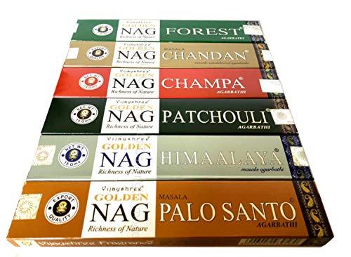 Varitas de incienso Golden Nag Champa de Emporia Boxes-Finest, nag champa, palo santo, sándalo, pachuli, Himalaya, bosque, mezcla A, 6 unidades