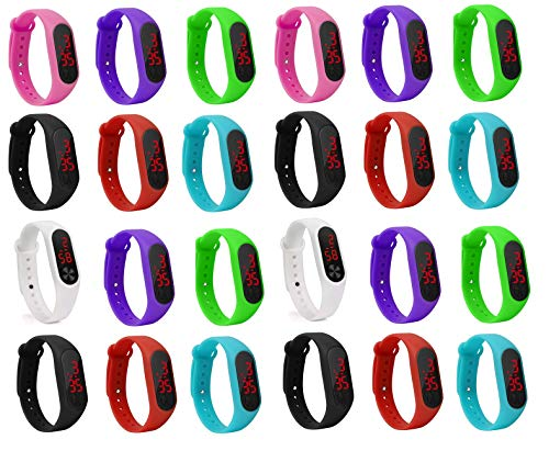 LEMONADE Silicone Unisex Slim Digital LED Pack de 25 Pulseras para niños y niñas. Reloj de Pulsera devolución para niños