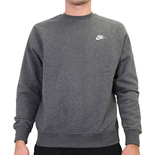 Nike M NSW Club CRW BB T-Shirt à Manches Longues Homme, Charcoal Heathr/(White), L