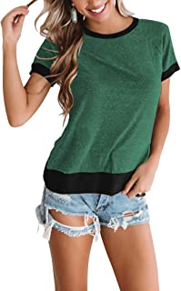 PRETTODAY Women's Short Sleeve T-Shirts Color Block Tops Round Neck Shirts Casual Loose Tunics