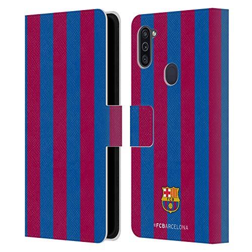 Head Case Designs Oficial FC Barcelona Rayas 2017/18 Crest Carcasa de Cuero Tipo Libro Compatible con Samsung Galaxy M11 (2020)