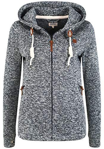 OXMO Thory Damen Fleecejacke Sweatjacke Jacke mit Kapuze, Größe:L, Farbe:Black (799000)