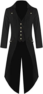 Ruanyu Men's Steampunk Vintage Tailcoat Jacket Gothic Victorian Frock Long Trench Coat Halloween Uniform Costume