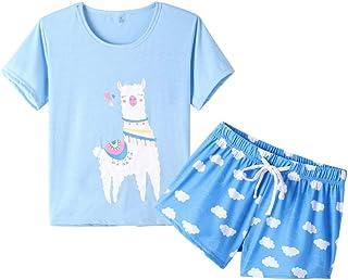 YIJIU Women Short Sleeve Tee and Shorts Pajama Set Cute Cartoon Print Sleepwear
