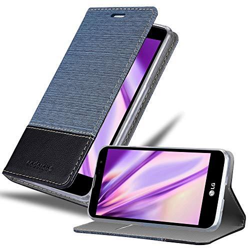 Cadorabo Hülle für LG G4C / G4 Mini/Magna - Hülle in DUNKEL BLAU SCHWARZ – Handyhülle mit Standfunktion & Kartenfach im Stoff Design - Hülle Cover Schutzhülle Etui Tasche Book