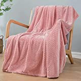 Inhand Fleece Throw Blankets, Super Soft Flannel Cozy Blankets for Adults, Washable Lightweight Fuzzy Blanket for Couch Sofa Bed Office, Throw Size Warm Plush Blankets for All Season (50'×60', Pink)