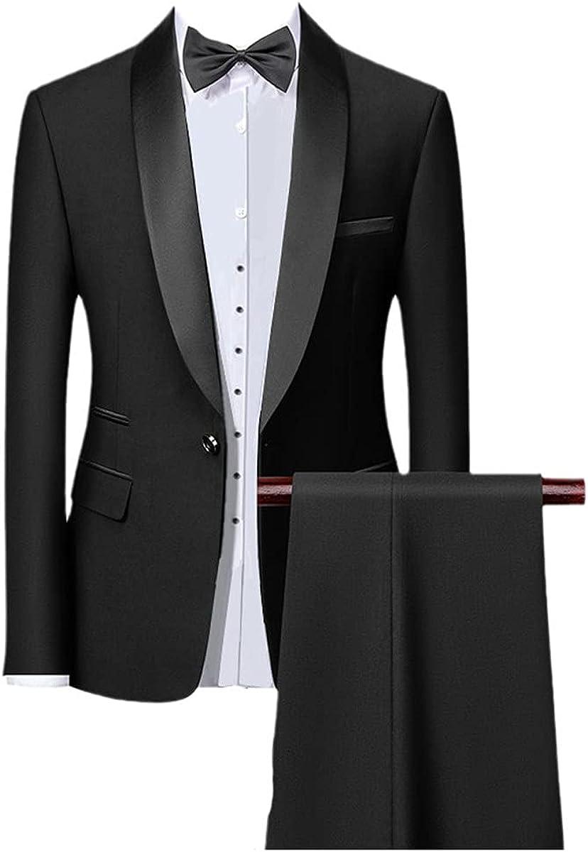 CACLSL Men's Tight 3-Piece Slim Fit Tuxedo Prom Suit/Male Groom's Wedding Suit Jacket