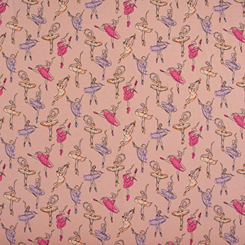 Mooi leven. Katoenen jersey stof ballerina danseres roze paars roze abrikoos 1,45 m breedte