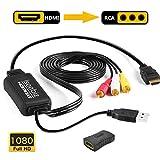 Iseebiz HDMIをコンポジットへ変換 改良品・車載用対応 HDMI to RCA/AV/コンポジット 変換アダプター 変換ケーブル 1080P USB給電 車載モニター対応 ソフト不要 アナログ3 RCA