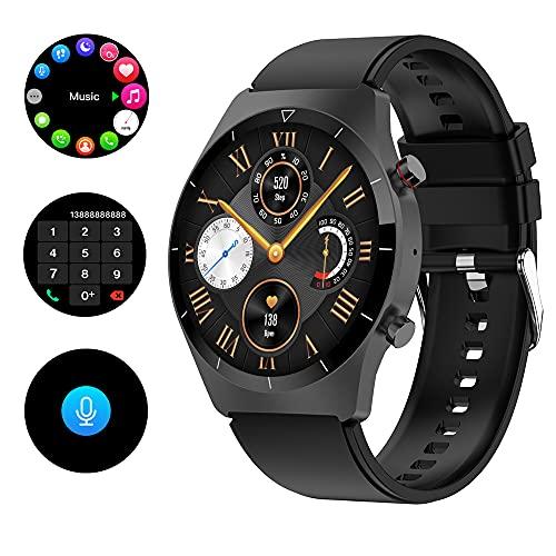 Hatieo Smartwatch, Fitnessuhr mit Pulsuhr Sportuhr Smart Watch mit SpO2 Monitor, Blutdruckmessgerät, Stimmenkontrolle, Kalorien, Anruf SMS, Schlafmonitor Damen Herren Armbanduhr, für Android iOS