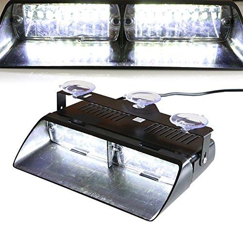 Viktion 12V 16 LEDs Feux de Pénétration Lumière Stroboscopique Eclairage Clignotant avec 18 Modes pour Voiture Camion véhicule SUV (Blanc)