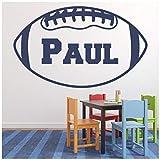 azutura Nom personnalisé Ballon de Rugby Sticker Muraux Disponible en 5 Dimensions et 25 Couleurs Or métallique