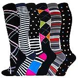 Graduated Compression Socks for Women&Men 20-30mmhg Knee High Sock (Multicoloured 2E, Large-X-Large)
