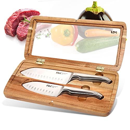 Furi Pro Acacia East/West Santoku Knife 2-Pieces Set