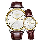 OLEVS Couples Watches Set for Men and Women with Retro Leather Band...