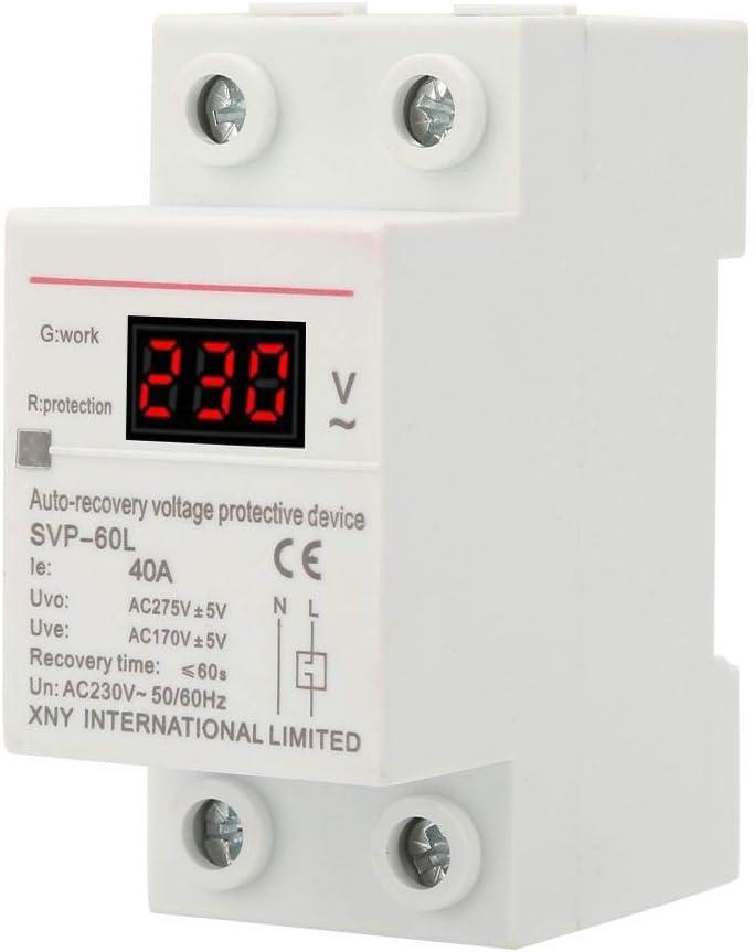 Dispositivo Protección Sobretensión Subtensión con Recuperación Automática 230V 40A con PantalElVoltaje y Luz Indicadora Dispositivo Protector Montado en Riel DIN