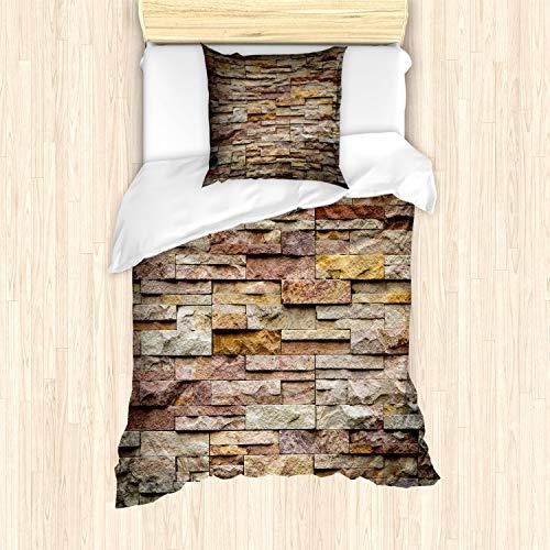 ABAKUHAUS Marmor Bettbezug Set für Einzelbetten, Städtische Ziegelstein-Schiefer-Wand, Milbensicher Allergiker geeignet mit Kissenbezug, Mehrfarbig