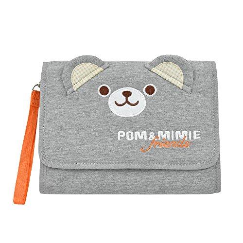 POM&MIMIE マルチケース 母子手帳ケース じゃばら ハンドル付き POM(グレー×オレンジ)