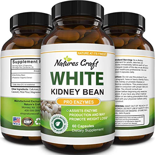 Pure White Kidney Bean Extract Pills Natural Weight Loss Supplement with Starch Carb Blocker Appetite Suppressant Lose Body Fat Aid Digestive System for Men and Women 60 Capsules by Natures Craft
