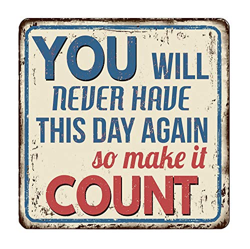 Losea You Will Never Have This Day Again So Make It Count Metal Tin Sign Retro Vintage Sign for Home and Bar Wall Decor 8x8 Inches