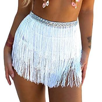 Women s Sequin Tassel Skirts Rave Fringe Hip Scarf for Festival  White-2