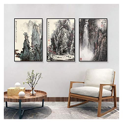 WQHLSH Pintura de Tinta Tradicional de Pintura de Tinta China Pósteres Imagen de Arte de Pared para Sala de Estar Classica Paisaje Pintura 20x28inchx3 Sin Marco