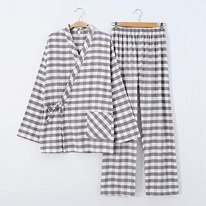 Pijamas Hombre Dormir Kimono Hilo teñido de cuadrícula con la ...