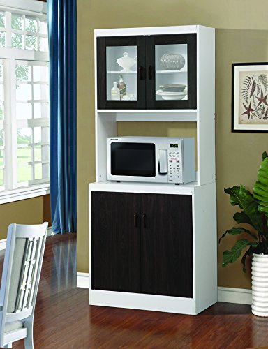 Home Source Industries Microwave Work Center with a-Drawer and Cupboard (Black)