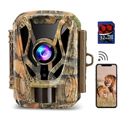 WiFi Trail Camera, 2.7K 20MP Mini Game Camera with 32GB Card Night...